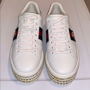 Gucci Ace Sneakers with Crystals Size 10.5 EUC